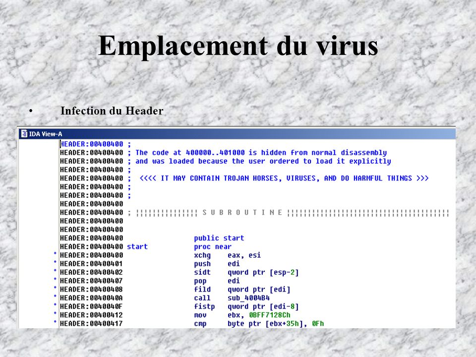 Emplacement du virus Infection du Header