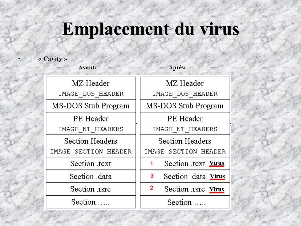 Emplacement du virus « Cavity » Avant:Après: