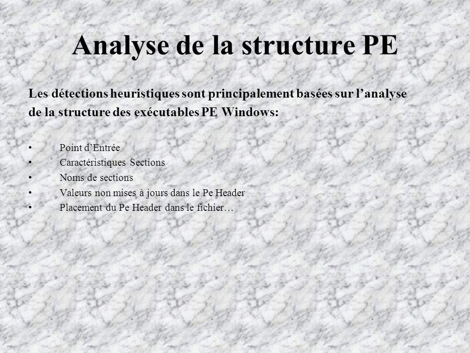 Analyse de la structure PE Les détections heuristiques sont principalement basées sur lanalyse de la structure des exécutables PE Windows: Point dEntrée Caractéristiques Sections Noms de sections Valeurs non mises à jours dans le Pe Header Placement du Pe Header dans le fichier…