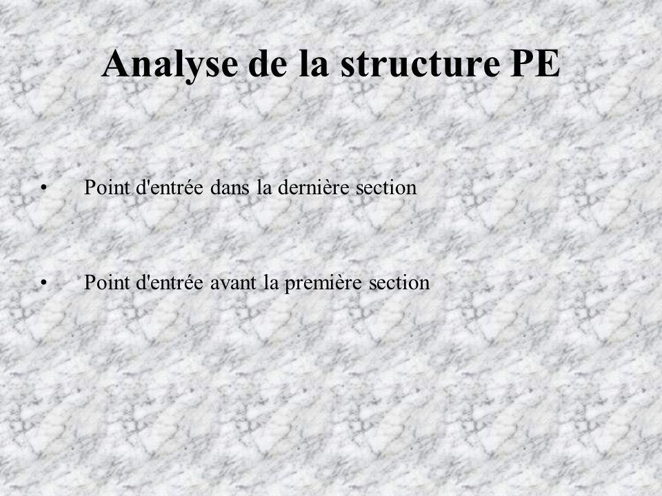 Analyse de la structure PE Point d entrée dans la dernière section Point d entrée avant la première section
