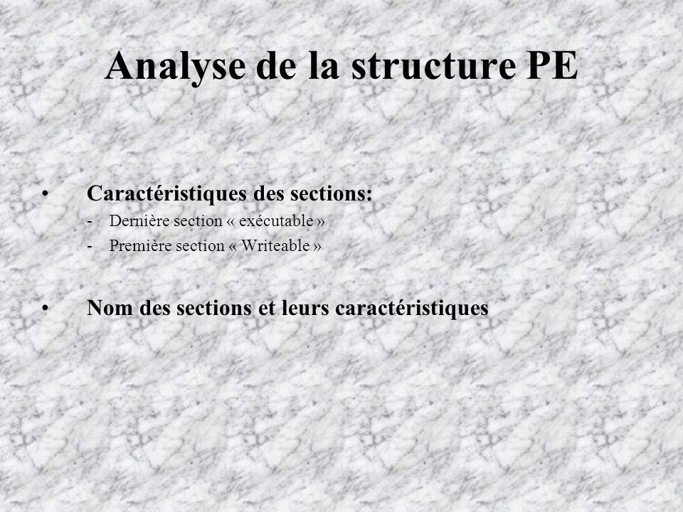 Analyse de la structure PE Caractéristiques des sections: -Dernière section « exécutable » -Première section « Writeable » Nom des sections et leurs caractéristiques