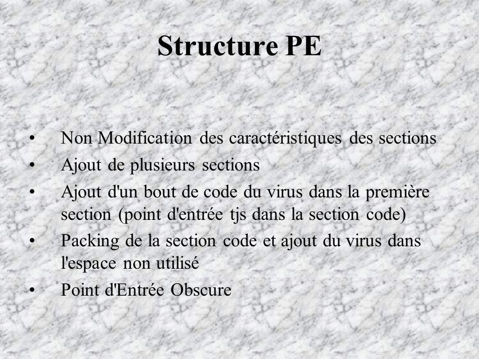 Structure PE Non Modification des caractéristiques des sections Ajout de plusieurs sections Ajout d un bout de code du virus dans la première section (point d entrée tjs dans la section code) Packing de la section code et ajout du virus dans l espace non utilisé Point d Entrée Obscure