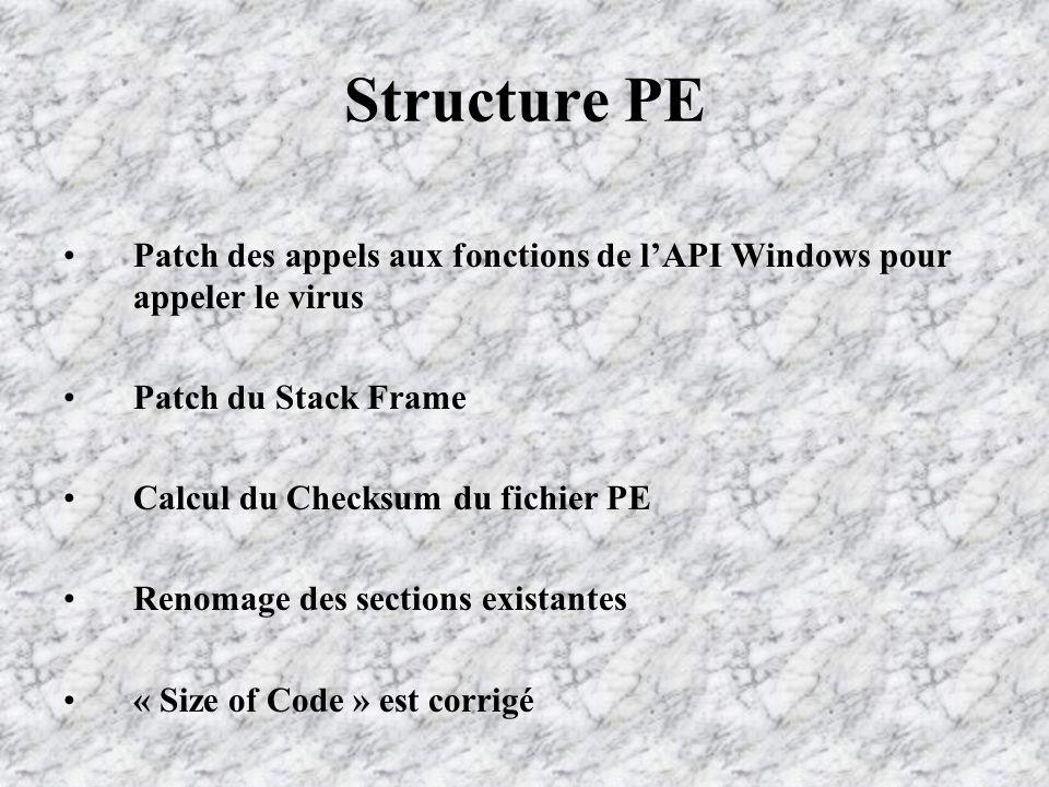 Structure PE Patch des appels aux fonctions de lAPI Windows pour appeler le virus Patch du Stack Frame Calcul du Checksum du fichier PE Renomage des sections existantes « Size of Code » est corrigé