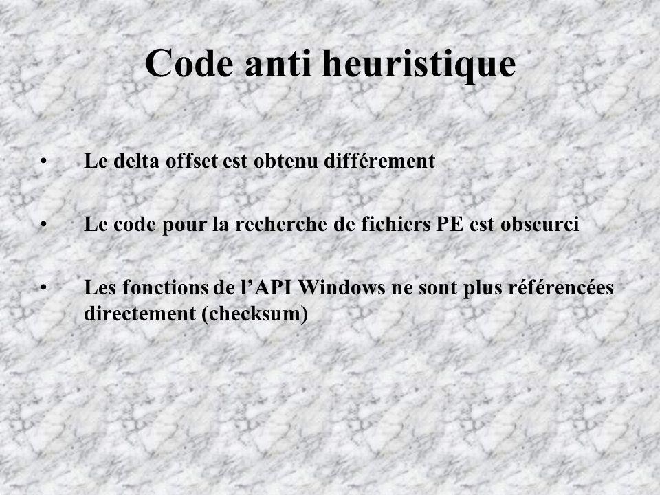 Code anti heuristique Le delta offset est obtenu différement Le code pour la recherche de fichiers PE est obscurci Les fonctions de lAPI Windows ne sont plus référencées directement (checksum)