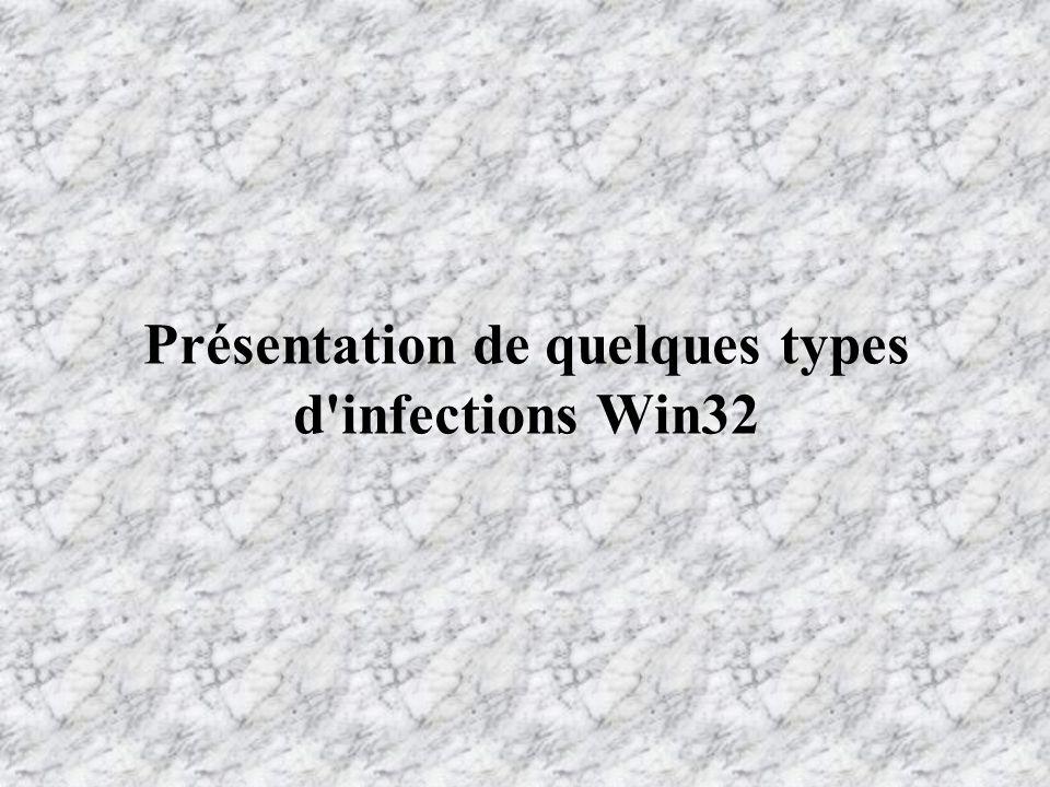 Présentation de quelques types d infections Win32
