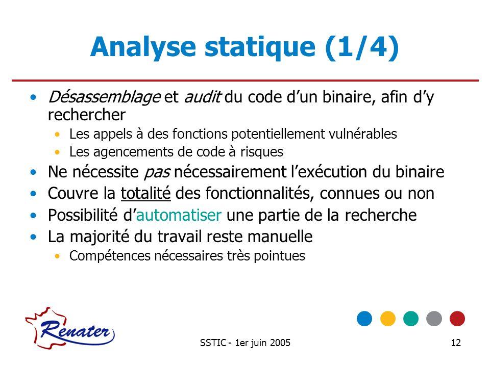 SSTIC - 1er juin 200512 Analyse statique (1/4) Désassemblage et audit du code dun binaire, afin dy rechercher Les appels à des fonctions potentielleme
