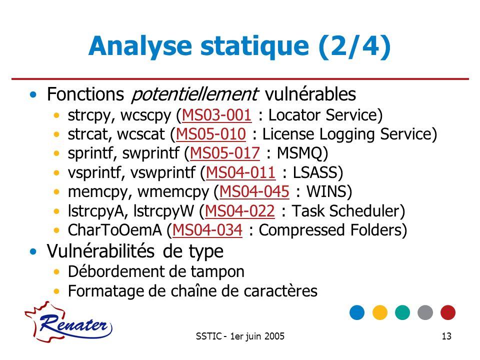 SSTIC - 1er juin 200513 Analyse statique (2/4) Fonctions potentiellement vulnérables strcpy, wcscpy (MS03-001 : Locator Service)MS03-001 strcat, wcsca