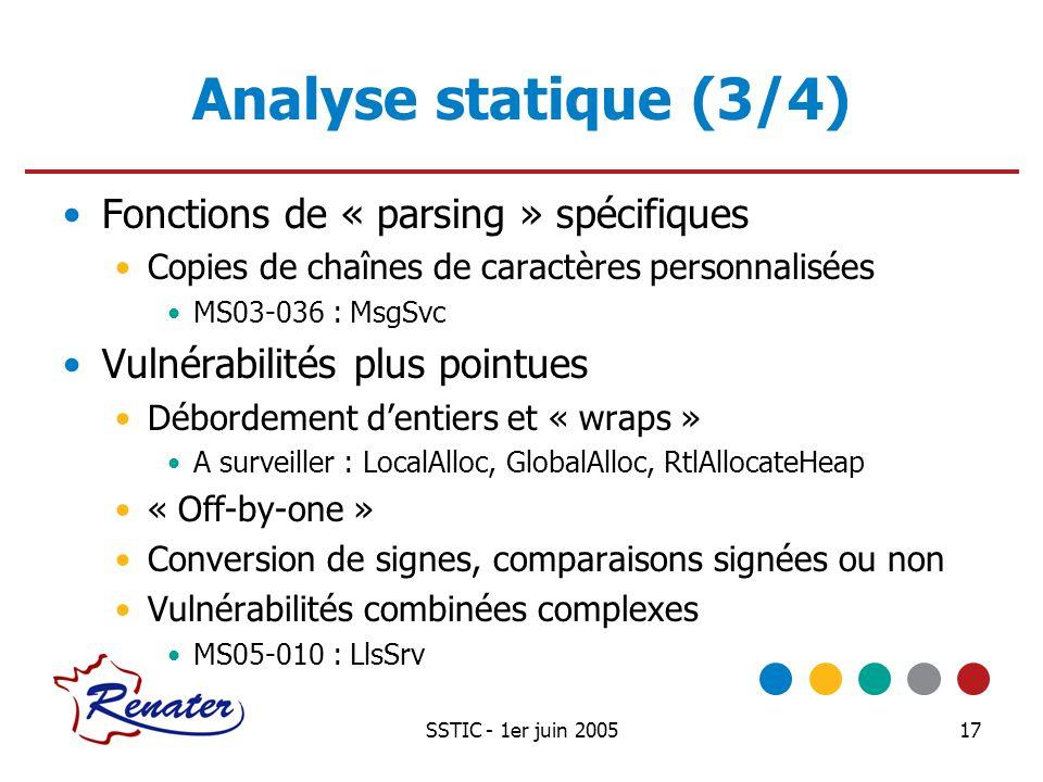 SSTIC - 1er juin 200517 Analyse statique (3/4) Fonctions de « parsing » spécifiques Copies de chaînes de caractères personnalisées MS03-036 : MsgSvc V