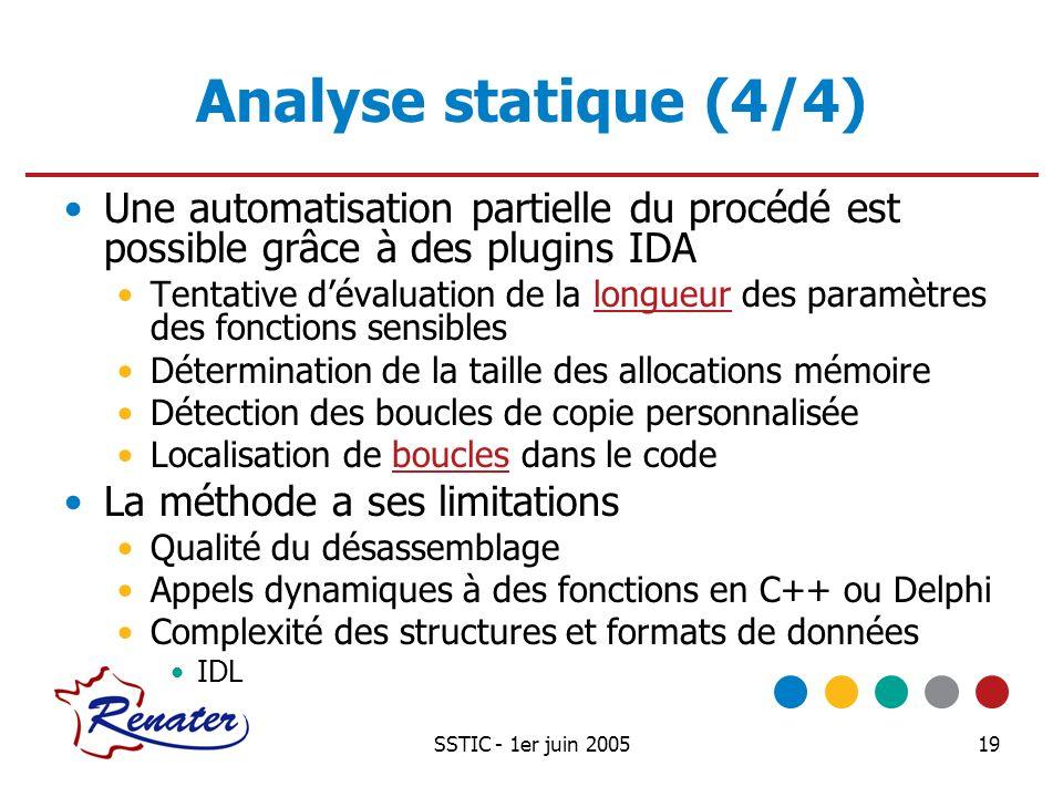 SSTIC - 1er juin 200519 Analyse statique (4/4) Une automatisation partielle du procédé est possible grâce à des plugins IDA Tentative dévaluation de l