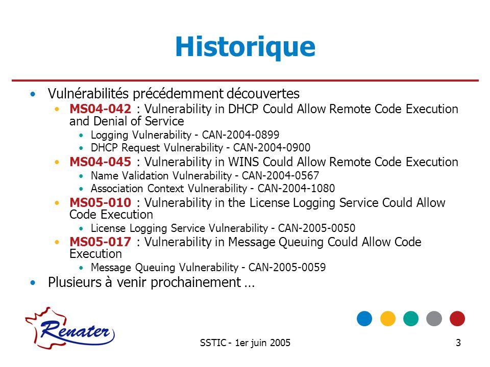 SSTIC - 1er juin 20053 Historique Vulnérabilités précédemment découvertes MS04-042 : Vulnerability in DHCP Could Allow Remote Code Execution and Denia