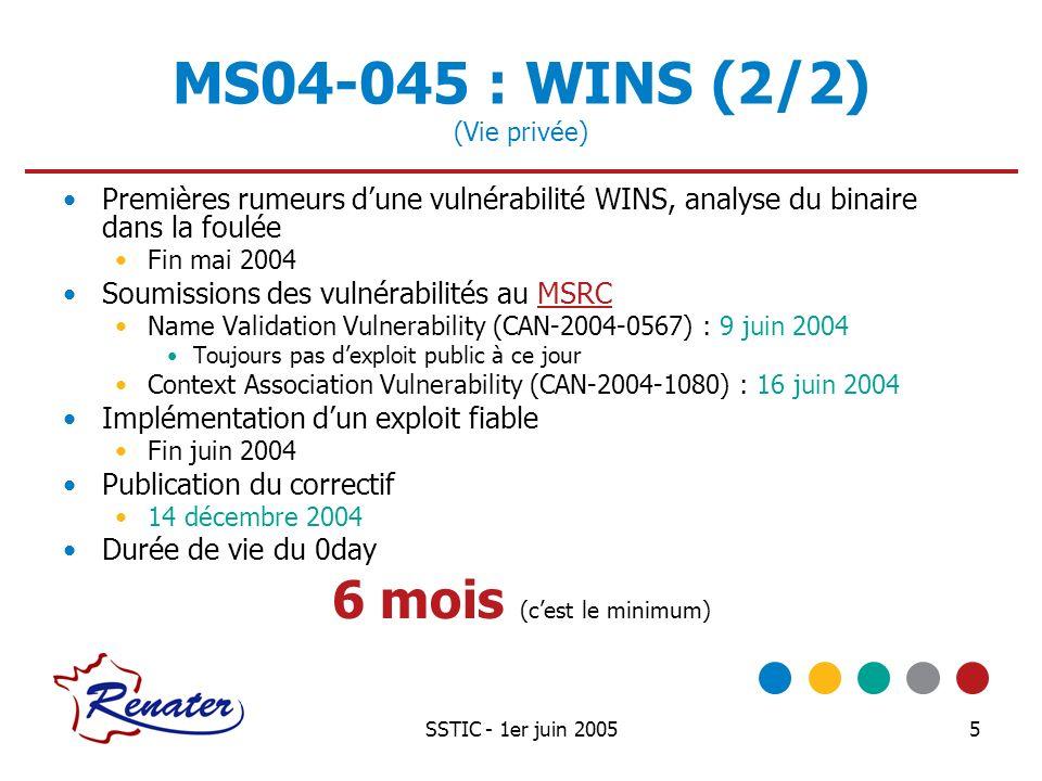 SSTIC - 1er juin 200516 MS05-017 : MqSvc Détails Lattaquant contrôle la chaîne de caractères en arg_0 Le buffer destination de la fonction swprintf fait 300 octets, est situé dans la pile Lalignement du buffer dépend de la longueur du nom NETBIOS de la machine hébergeant le service