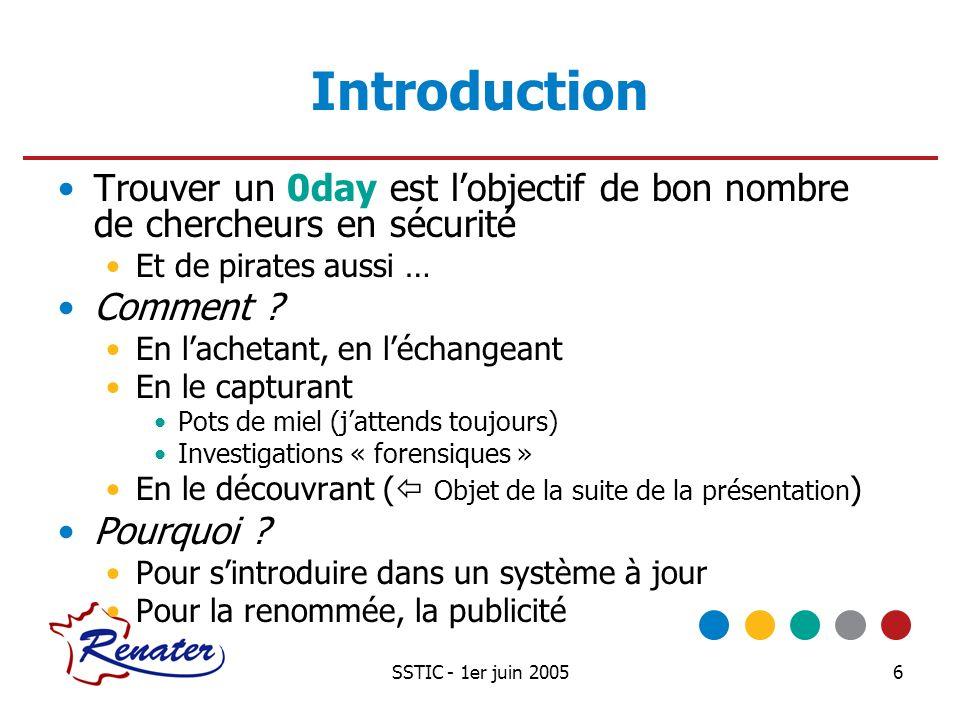 SSTIC - 1er juin 20056 Introduction Trouver un 0day est lobjectif de bon nombre de chercheurs en sécurité Et de pirates aussi … Comment ? En lachetant
