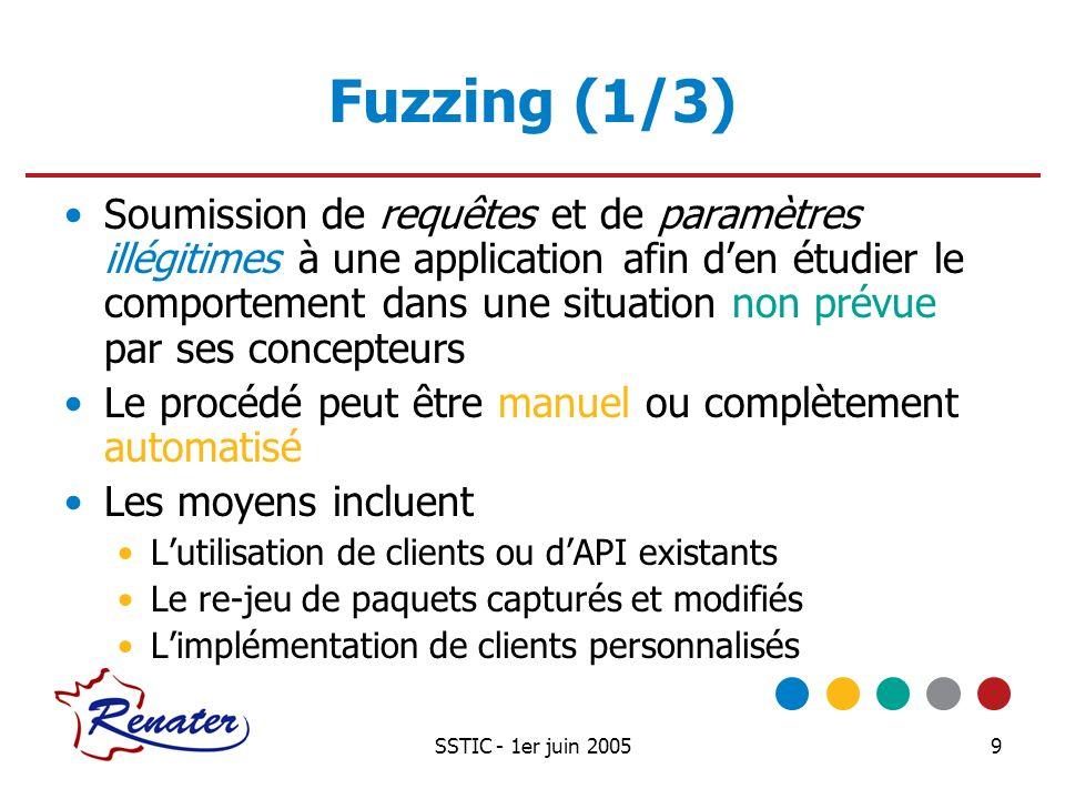 SSTIC - 1er juin 200510 Fuzzing (2/3) Clients et API existants Probable rejet ou modification des entrées invalides Moyen simple de capturer, analyser et construire des requêtes Peu ou pas de connaissances du protocole requises Clients personnalisés A partir de trames légitimes A partir de « frameworks » SPIKE par David Aitel, en CSPIKE IOActive Peach par Michael Eddington, en PythonIOActive Peach Connaissances du protocole nécessaires