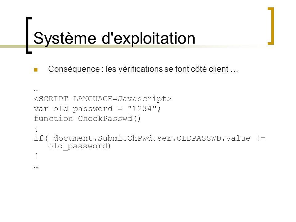 Système d'exploitation Conséquence : les vérifications se font côté client … … var old_password =