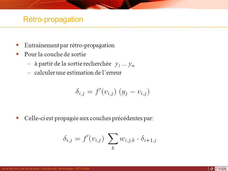 Javier Burroni – Carlos Sarraute – Core Security Technologies – SSTIC 2006 Rétro-propagation Entraînement par rétro-propagation Pour la couche de sortie –à partir de la sortie recherchée y 1 … y m –calculer une estimation de lerreur Celle-ci est propagée aux couches précédentes par: