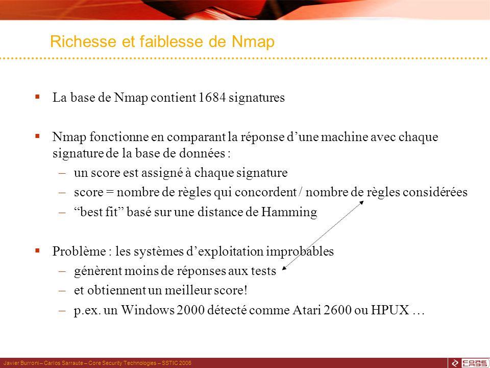 Javier Burroni – Carlos Sarraute – Core Security Technologies – SSTIC 2006 Richesse et faiblesse de Nmap La base de Nmap contient 1684 signatures Nmap