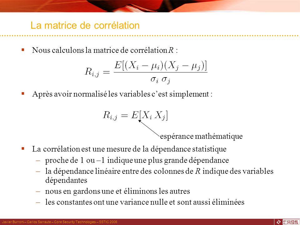 Javier Burroni – Carlos Sarraute – Core Security Technologies – SSTIC 2006 Nous calculons la matrice de corrélation R : Après avoir normalisé les variables cest simplement : La corrélation est une mesure de la dépendance statistique –proche de 1 ou –1 indique une plus grande dépendance –la dépendance linéaire entre des colonnes de R indique des variables dépendantes –nous en gardons une et éliminons les autres –les constantes ont une variance nulle et sont aussi éliminées La matrice de corrélation espérance mathématique