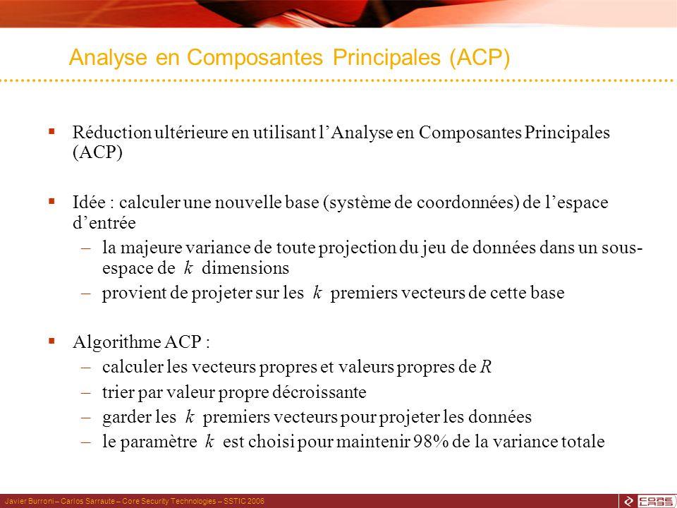 Javier Burroni – Carlos Sarraute – Core Security Technologies – SSTIC 2006 Analyse en Composantes Principales (ACP) Réduction ultérieure en utilisant lAnalyse en Composantes Principales (ACP) Idée : calculer une nouvelle base (système de coordonnées) de lespace dentrée –la majeure variance de toute projection du jeu de données dans un sous- espace de k dimensions –provient de projeter sur les k premiers vecteurs de cette base Algorithme ACP : –calculer les vecteurs propres et valeurs propres de R –trier par valeur propre décroissante –garder les k premiers vecteurs pour projeter les données –le paramètre k est choisi pour maintenir 98% de la variance totale