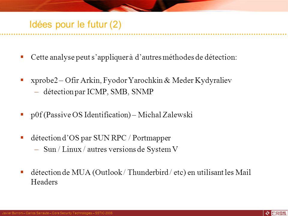 Javier Burroni – Carlos Sarraute – Core Security Technologies – SSTIC 2006 Idées pour le futur (2) Cette analyse peut sappliquer à dautres méthodes de détection: xprobe2 – Ofir Arkin, Fyodor Yarochkin & Meder Kydyraliev –détection par ICMP, SMB, SNMP p0f (Passive OS Identification) – Michal Zalewski détection dOS par SUN RPC / Portmapper –Sun / Linux / autres versions de System V détection de MUA (Outlook / Thunderbird / etc) en utilisant les Mail Headers