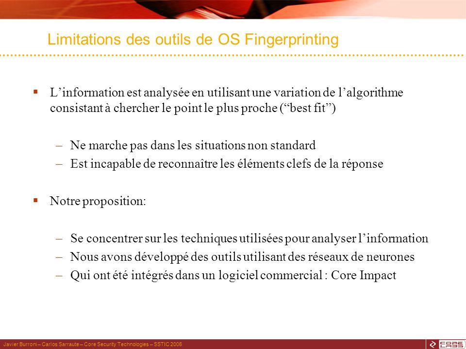 Javier Burroni – Carlos Sarraute – Core Security Technologies – SSTIC 2006 Limitations des outils de OS Fingerprinting Linformation est analysée en ut