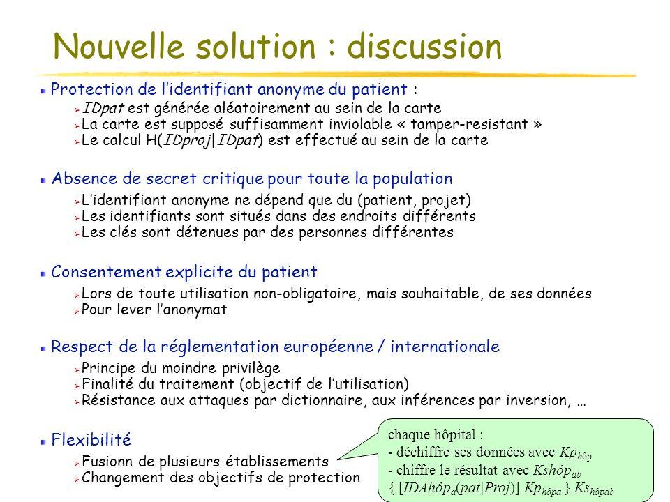 02/06/2004 SSTIC - Rennes 15 Protection de lidentifiant anonyme du patient : IDpat est générée aléatoirement au sein de la carte La carte est supposé