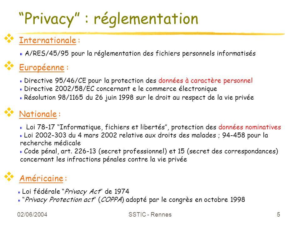 02/06/2004 SSTIC - Rennes 5 Privacy : réglementation A/RES/45/95 pour la réglementation des fichiers personnels informatisés Directive 95/46/CE pour l