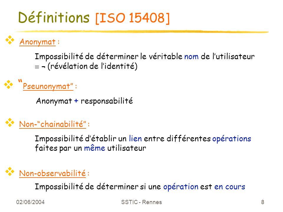 02/06/2004 SSTIC - Rennes 8 Définitions [ISO 15408] Anonymat : Pseunonymat : Non-chainabilité : Non-observabilité : Impossibilité de déterminer le vér