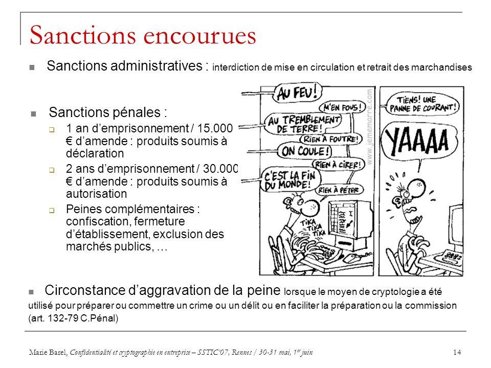 Marie Barel, Confidentialité et cryptographie en entreprise – SSTIC07, Rennes / 30-31 mai, 1 er juin14 Sanctions encourues Sanctions pénales : 1 an de
