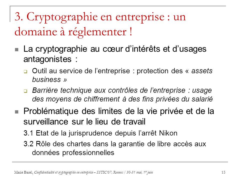Marie Barel, Confidentialité et cryptographie en entreprise – SSTIC07, Rennes / 30-31 mai, 1 er juin15 3. Cryptographie en entreprise : un domaine à r