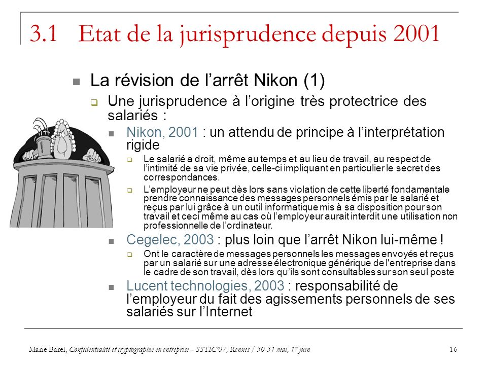 Marie Barel, Confidentialité et cryptographie en entreprise – SSTIC07, Rennes / 30-31 mai, 1 er juin16 3.1 Etat de la jurisprudence depuis 2001 La rév