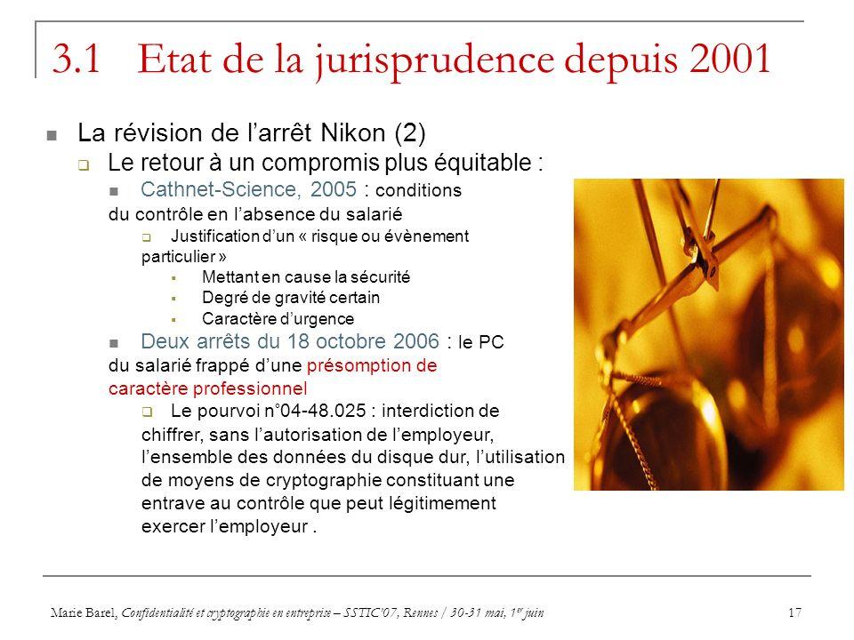 Marie Barel, Confidentialité et cryptographie en entreprise – SSTIC07, Rennes / 30-31 mai, 1 er juin17 3.1 Etat de la jurisprudence depuis 2001 La rév