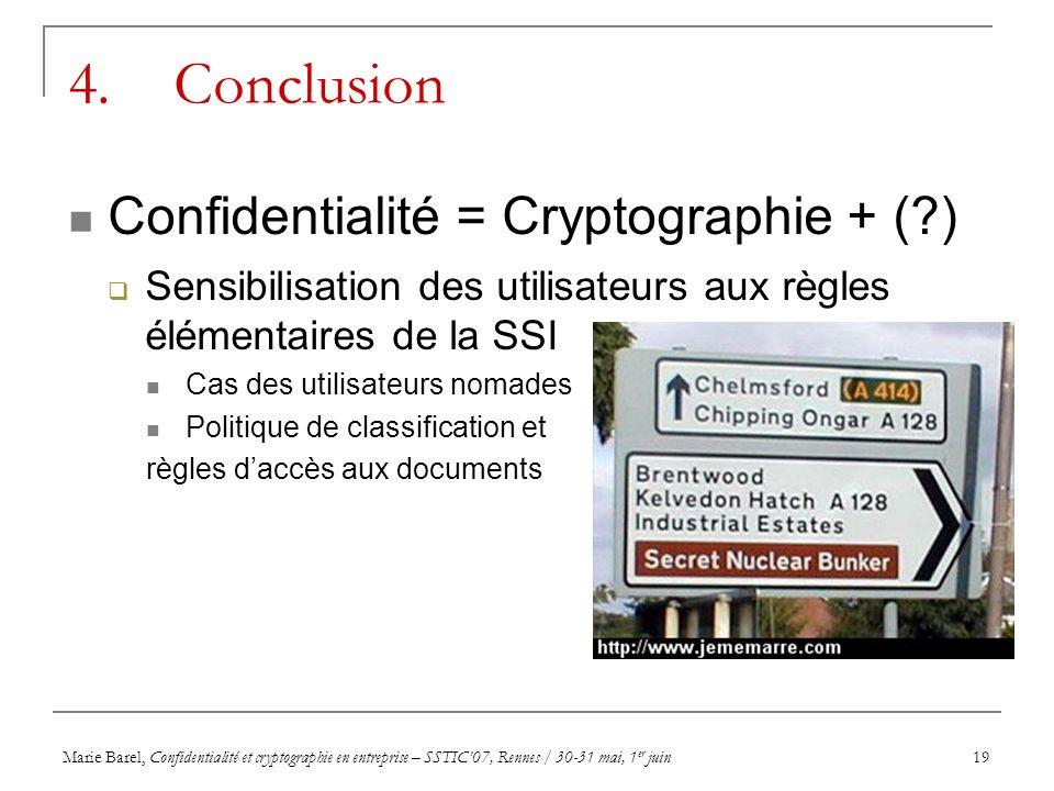 Marie Barel, Confidentialité et cryptographie en entreprise – SSTIC07, Rennes / 30-31 mai, 1 er juin19 4. Conclusion Confidentialité = Cryptographie +