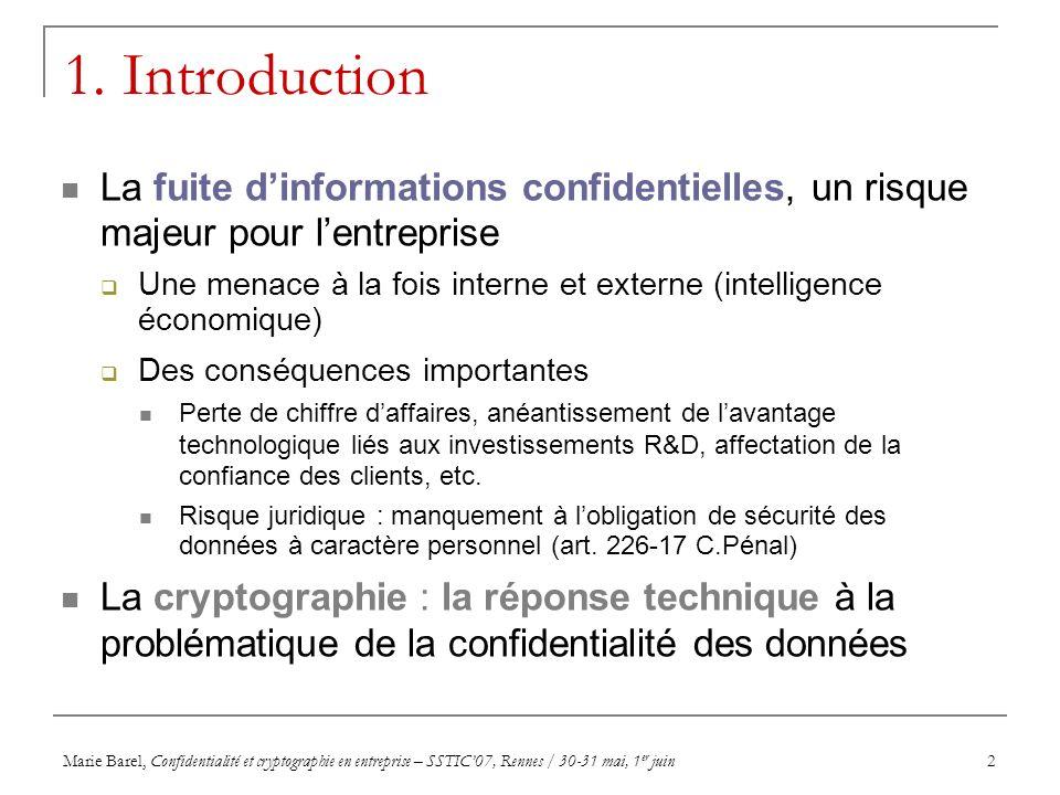 Marie Barel, Confidentialité et cryptographie en entreprise – SSTIC07, Rennes / 30-31 mai, 1 er juin3 Agenda Introduction Vue synoptique de la réglementation en matière de cryptographie Rappel historique des évolutions législatives Etat de la réglementation en vigueur (loi du 21 juin 2004) 1.