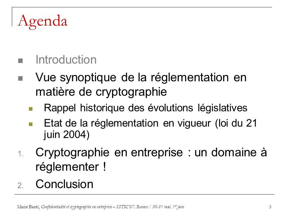 Marie Barel, Confidentialité et cryptographie en entreprise – SSTIC07, Rennes / 30-31 mai, 1 er juin3 Agenda Introduction Vue synoptique de la régleme