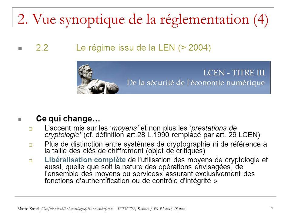 Marie Barel, Confidentialité et cryptographie en entreprise – SSTIC07, Rennes / 30-31 mai, 1 er juin8 UTILISATION AVANTAPRES Authentification Contrôle dIntégrité Confidentialité Longueur de clé LIBRE (art.30-I LEN) LIBRE < ou = 40 bits < ou = 128 bits > 128 bits LIBRELIBRE * AUTORISEE **/ LIBRE *** * A condition, soit que lesdits matériels ou logiciels aient préalablement fait l objet d une déclaration par leur producteur, un fournisseur ou un importateur, soit que lesdits matériels ou logiciels soient exclusivement destinés à l usage privé d une personne physique ; Sinon, une déclaration d utilisation personnelle doit être adressée à la DCSSI ** A condition que lesdits matériels ou logiciels aient fait l objet d une autorisation de fourniture en vue d une utilisation générale.