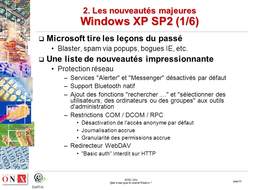 page 10 SSTIC 2004 Quel avenir pour la sécurité Windows .