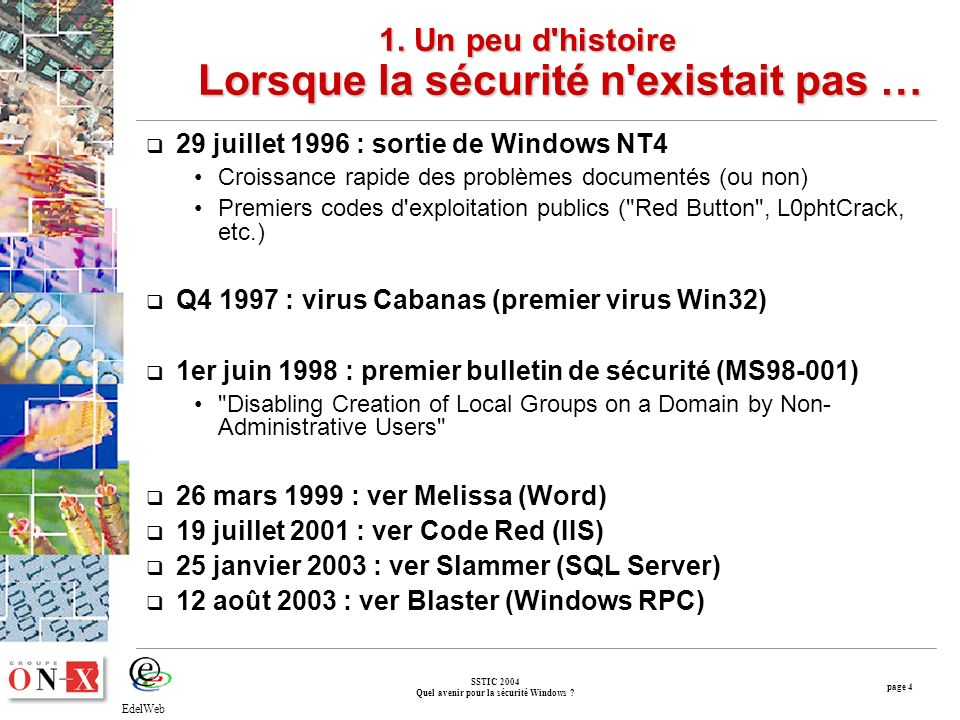 page 4 SSTIC 2004 Quel avenir pour la sécurité Windows .