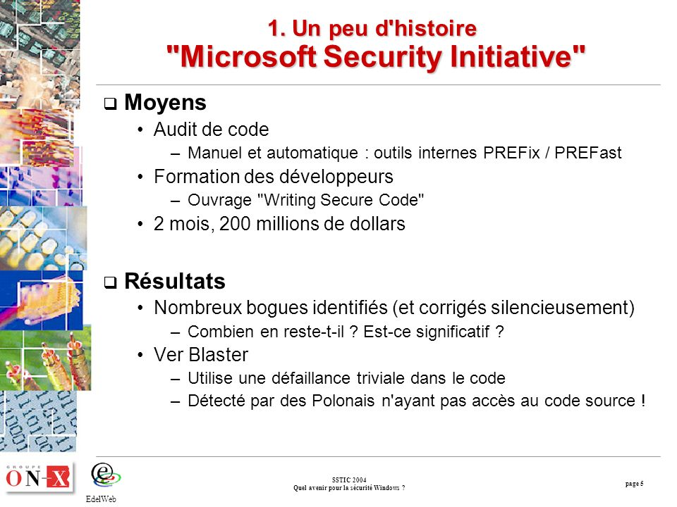 page 5 SSTIC 2004 Quel avenir pour la sécurité Windows .