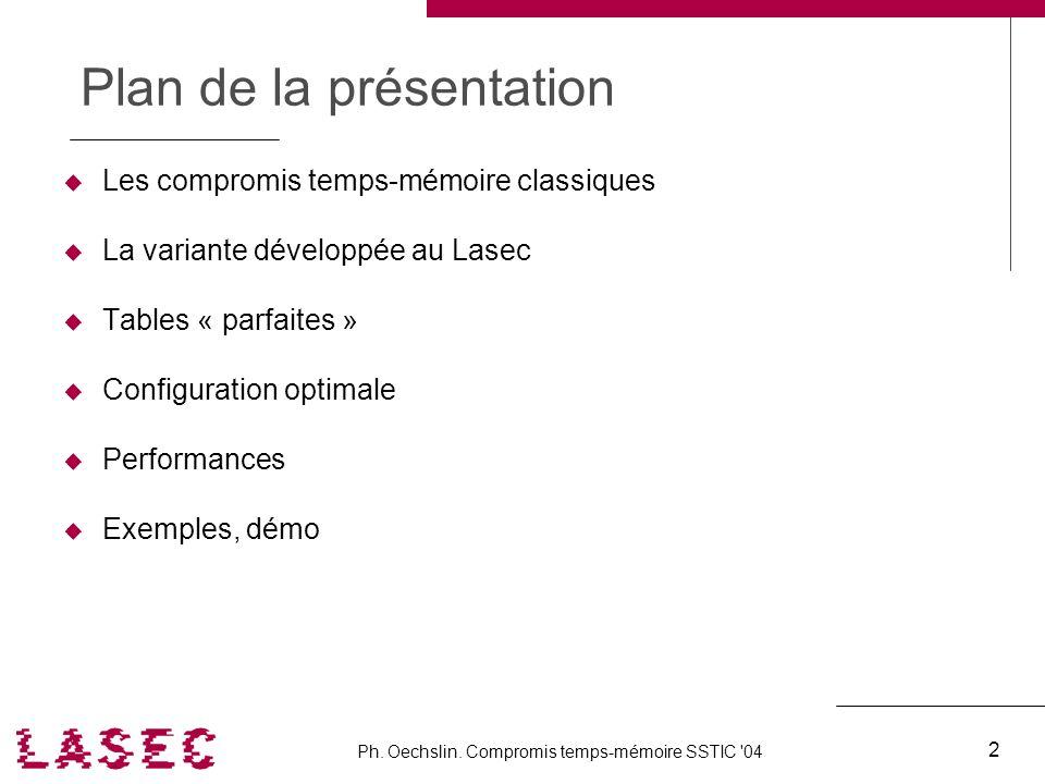 Ph. Oechslin. Compromis temps-mémoire SSTIC '04 2 Plan de la présentation Les compromis temps-mémoire classiques La variante développée au Lasec Table