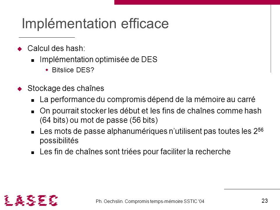 Ph. Oechslin. Compromis temps-mémoire SSTIC '04 23 Implémentation efficace Calcul des hash: Implémentation optimisée de DES Bitslice DES? Stockage des