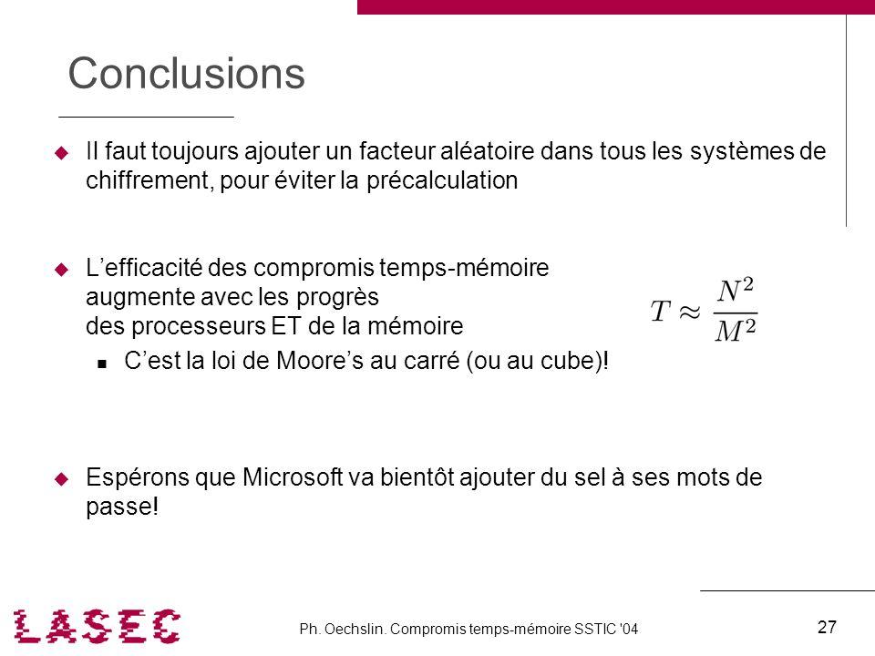 Ph. Oechslin. Compromis temps-mémoire SSTIC '04 27 Conclusions Il faut toujours ajouter un facteur aléatoire dans tous les systèmes de chiffrement, po