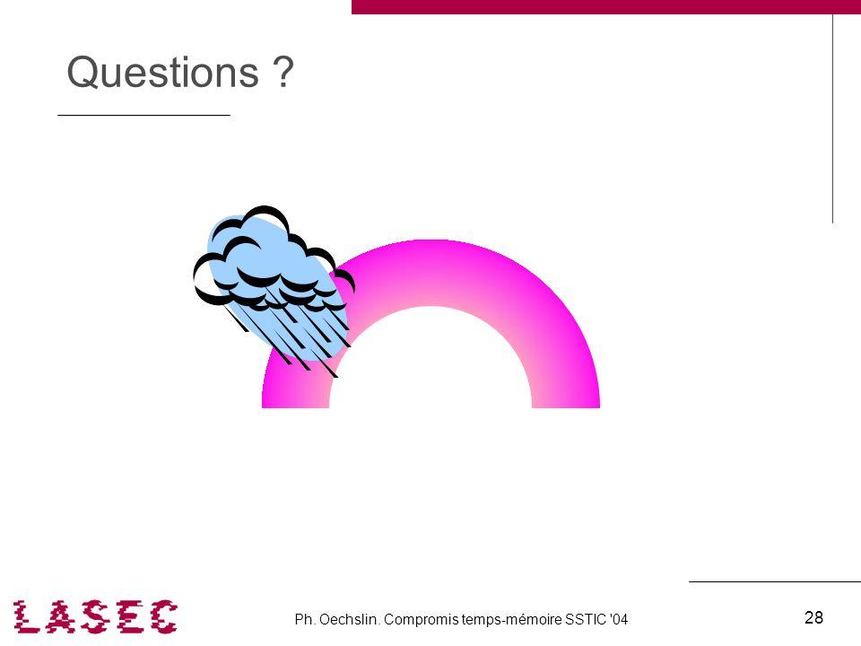 Ph. Oechslin. Compromis temps-mémoire SSTIC '04 28 Questions ?