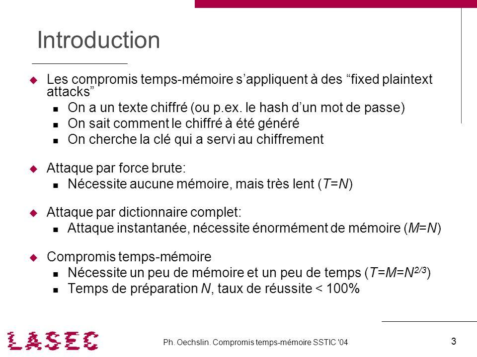Ph. Oechslin. Compromis temps-mémoire SSTIC '04 3 Introduction Les compromis temps-mémoire sappliquent à des fixed plaintext attacks On a un texte chi