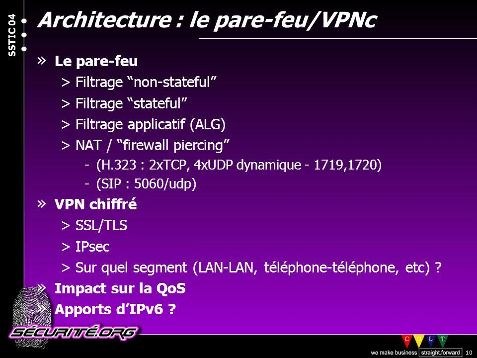 © 2004 Nicolas FISCHBACH SSTIC 04 10 Architecture : le pare-feu/VPNc » Le pare-feu >Filtrage non-stateful >Filtrage stateful >Filtrage applicatif (ALG