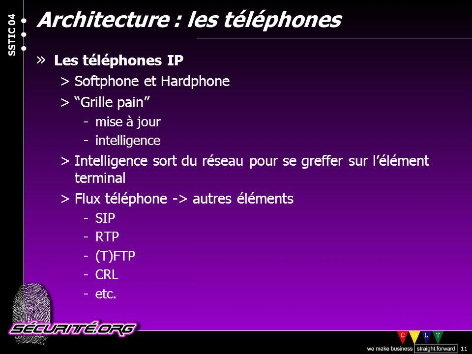 © 2004 Nicolas FISCHBACH SSTIC 04 11 Architecture : les téléphones » Les téléphones IP >Softphone et Hardphone >Grille pain -mise à jour -intelligence