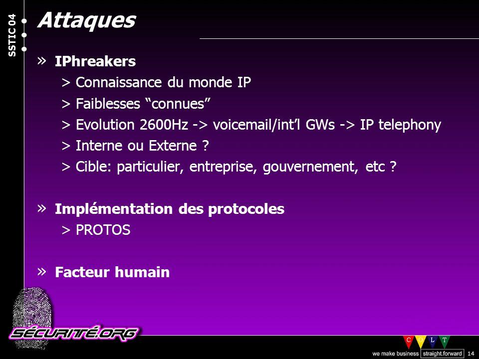 © 2004 Nicolas FISCHBACH SSTIC 04 14 Attaques » IPhreakers >Connaissance du monde IP >Faiblesses connues >Evolution 2600Hz -> voicemail/intl GWs -> IP