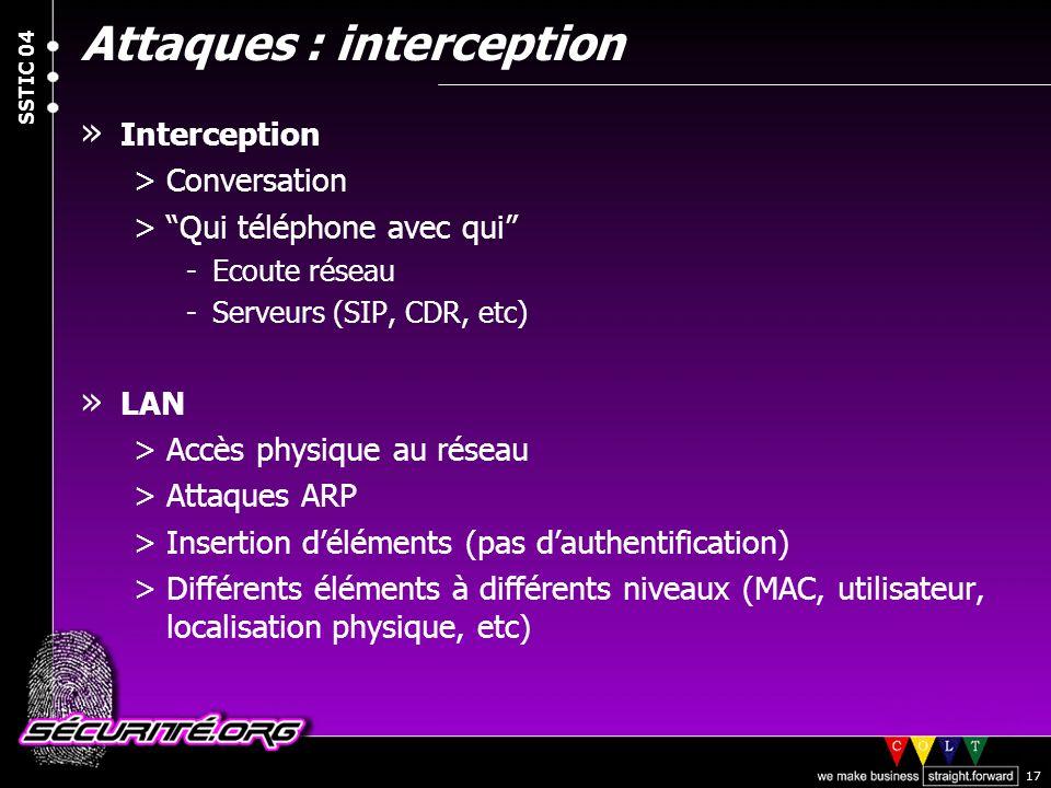 © 2004 Nicolas FISCHBACH SSTIC 04 17 Attaques : interception » Interception >Conversation >Qui téléphone avec qui -Ecoute réseau -Serveurs (SIP, CDR,