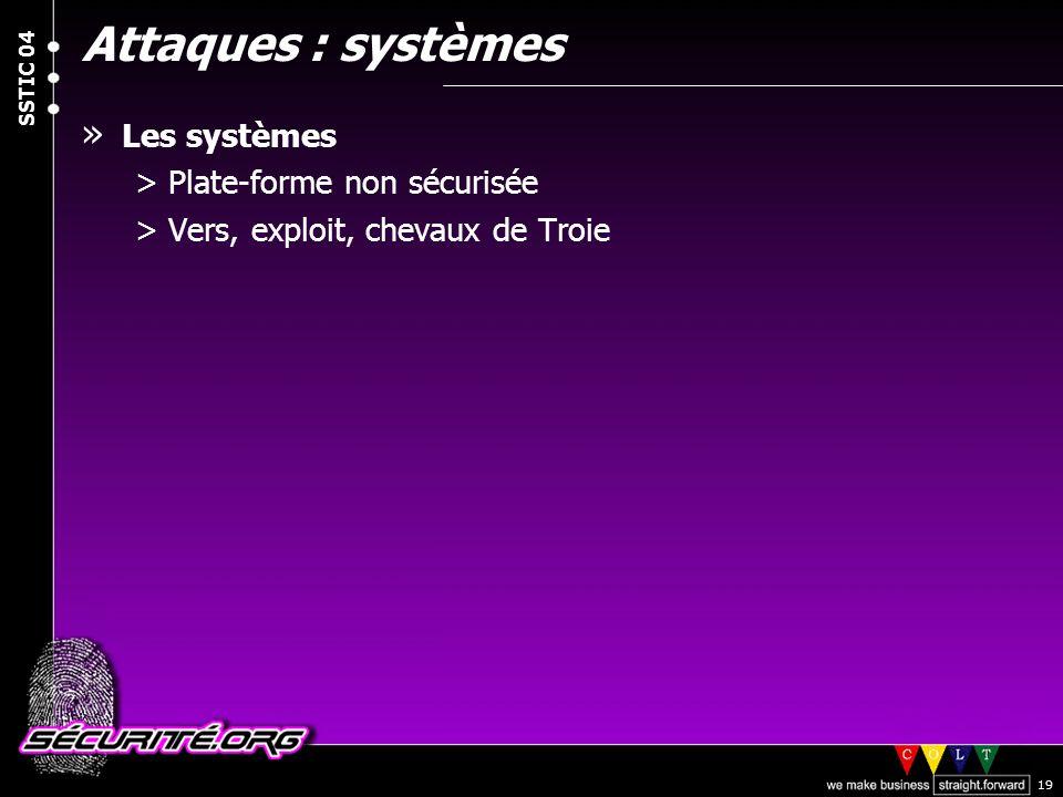 © 2004 Nicolas FISCHBACH SSTIC 04 19 Attaques : systèmes » Les systèmes >Plate-forme non sécurisée >Vers, exploit, chevaux de Troie