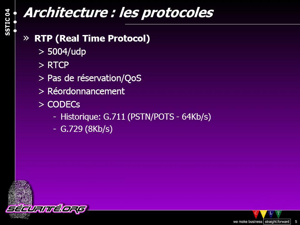 © 2004 Nicolas FISCHBACH SSTIC 04 5 Architecture : les protocoles » RTP (Real Time Protocol) >5004/udp >RTCP >Pas de réservation/QoS >Réordonnancement