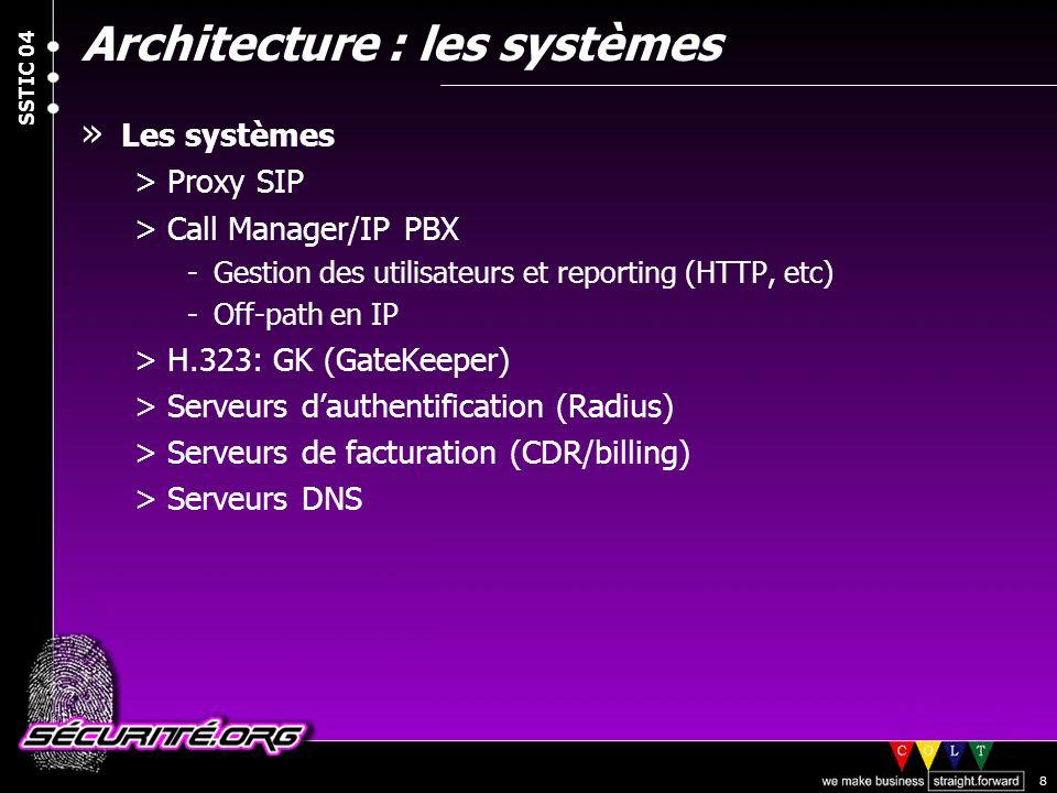 © 2004 Nicolas FISCHBACH SSTIC 04 8 Architecture : les systèmes » Les systèmes >Proxy SIP >Call Manager/IP PBX -Gestion des utilisateurs et reporting